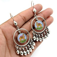 Glass Painting Earring 925 Sterling Silver Vintage Look Jewelry Z14