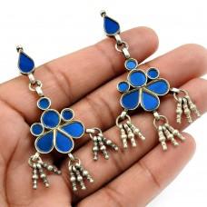 Blue Glass Earring 925 Sterling Silver Tribal Jewelry B15