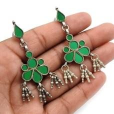 Green Glass Earring 925 Sterling Silver Handmade Jewelry C15