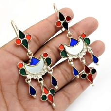 Multi Color Glass Earring 925 Sterling Silver Traditional Jewelry H15