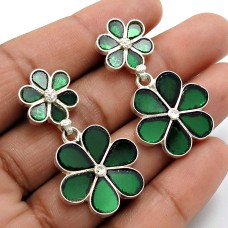 Green Glass Earring 925 Sterling Silver Vintage Jewelry Q3