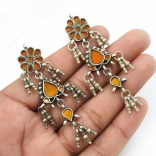 Yellow Glass Earring 925 Sterling Silver Ethnic Jewelry S15