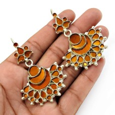 Yellow Glass Earring 925 Sterling Silver Indian Jewelry X15