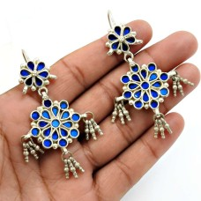 Blue Glass Earring 925 Sterling Silver Vintage Jewelry A16