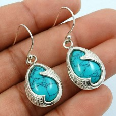Turquoise Gemstone Artisan Earring 925 Sterling Silver Indian Jewelry H16