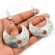 Carnelian Gemstone Earring 925 Sterling Silver Indian Handmade Jewelry I16