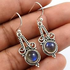 Round Shape Labradorite Gemstone Earrings 925 Sterling Silver Fine Jewelry N5