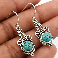 Round Shape Turquoise Gemstone Earrings 925 Sterling Silver HANDMADE Jewelry Q1