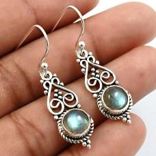 Round Shape Labradorite Gemstone Earrings 925 Sterling Silver Fine Jewelry M6