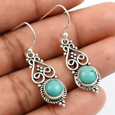 HANDMADE 925 Sterling Silver Jewelry Round Shape Turquoise Gemstone Earrings P6