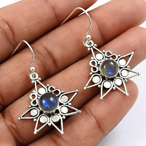 Round Shape Labradorite Gemstone Earrings 925 Solid Sterling Silver Jewelry G7