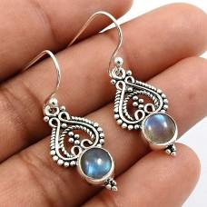 Round Shape Labradorite Gemstone Earrings 925 Sterling Silver Fine Jewelry H8