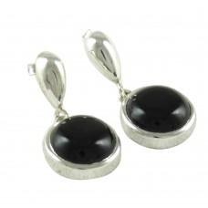 925 Sterling Silver Jewelry Ethnic Black Onyx Gemstone Earrings