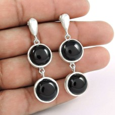 925 Sterling Silver Fashion Jewelry Traditional Black Onyx Gemstone Earrings