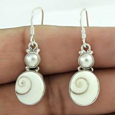 Spectacular Design! 925 Sterling Silver Shiva eye & Pearl Earrings Wholesaler