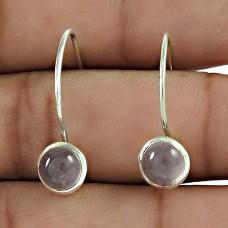 925 Sterling Silver Jewelry Beautiful Rose Quartz Gemstone Earrings Exporter