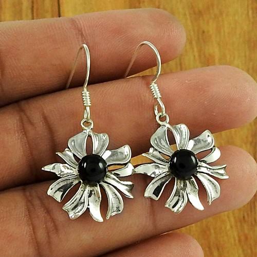 Daily Wear Jewellery 925 Sterling Silver Black Onyx Gemstone Earring