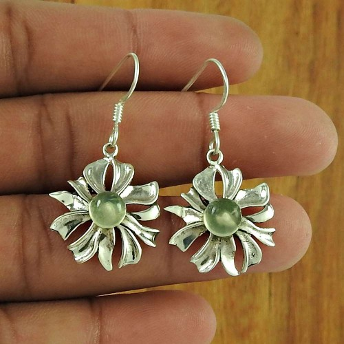 Rare 925 Sterling Silver Prehnite Gemstone Earring Ethnic Jewellery