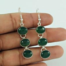 925 Silver Jewelry Ethnic Green Onyx Gemstone Earrings