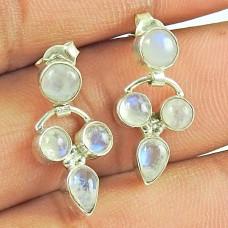 Sterling Silver Jewelry Fashion Rainbow Moonstone Gemstone Earrings