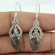 925 Sterling Silver Antique Jewelry Beautiful Black Rutile Gemstone Earrings