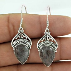 925 Sterling Silver Indian Jewelry Traditional Black Rutile Gemstone Earrings