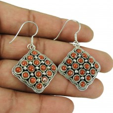 Charming 925 Sterling Silver Coral Earrings