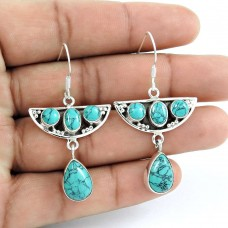 925 Sterling Silver Fashion Jewelry Rare Turquoise Gemstone Earrings