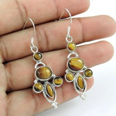 Indian Silver Jewelry Charming Tiger Eye Gemstone Earrings