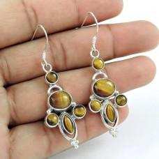 Indian Silver Jewelry Charming Tiger Eye Gemstone Earrings
