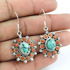 Sterling Silver Jewelry Fashion Coral, Turquoise Gemstone Earrings