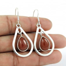 925 Silver Jewelry Beautiful Red Onyx Gemstone Earrings