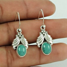 925 Sterling Silver Vintage Jewelry Ethnic Turquoise Gemstone Earrings