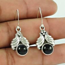 925 Sterling Silver Antique Jewelry Beautiful Black Onyx Gemstone Earrings