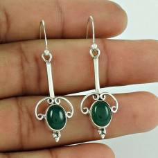 Indian Silver Jewelry Fashion Green Onyx Gemstone Earrings