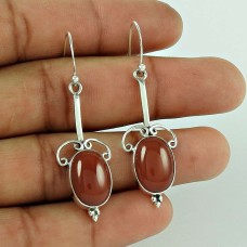 Sterling Silver Jewelry Ethnic Red Onyx Gemstone Earrings