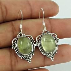 925 Sterling Silver Jewelry Traditional Prehnite Gemstone Earrings