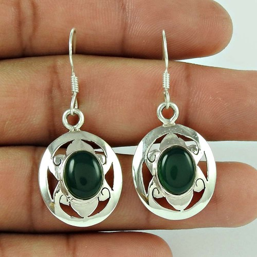 925 Silver Jewelry High Polish Green Onyx Gemstone Earrings