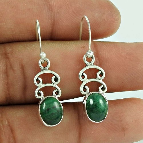 925 Sterling Silver Antique Jewelry Traditional Malachite Gemstone Earrings