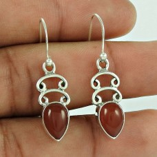 Sterling Silver Indian Jewelry High Polish Red Onyx Gemstone Earrings