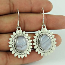 925 Sterling Silver Antique Jewelry Beautiful Blue Lace Ageta Handmade Earrings Grossiste