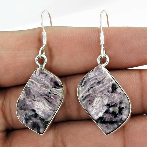 925 Sterling Silver Indian Jewelry Traditional Charoite Gemstone Earrings