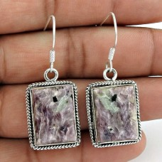Precious Style! 925 Sterling Silver Charoite Earrings Wholesale