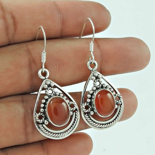 925 Sterling Silver Jewelry Beautiful Red Onyx Gemstone Earrings
