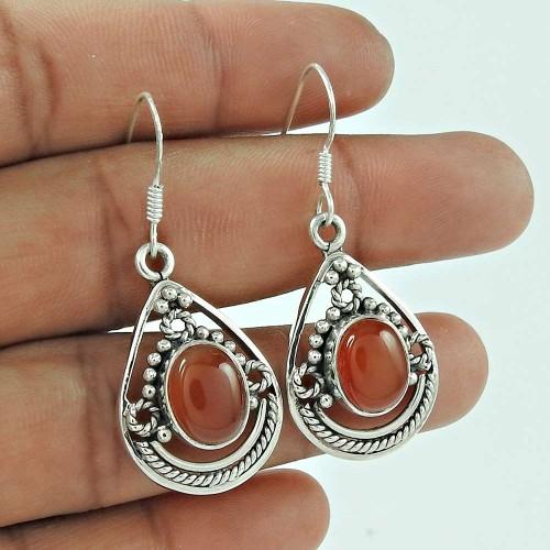 925 Sterling Silver Jewelry Beautiful Red Onyx Gemstone Earrings