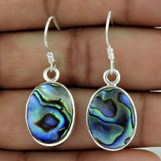 Sterling Silver Fashion Jewelry Fashion Abalone Shell Gemstone Earrings