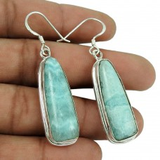 Lovely 925 Sterling Silver Blue Rhodochrosite Gemstone Earrings