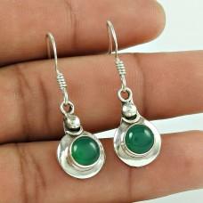 Stunning 925 Sterling Silver Green Onyx Gemstone Earring Jewellery