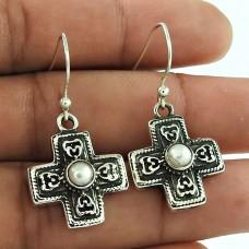 Good-Looking 925 Sterling Silver Pearl Cross Earring Antique Jewellery