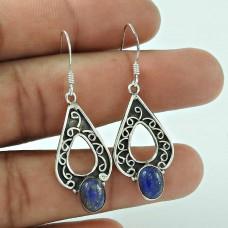 Virtual Oval Shape Lapis Gemstone Earring 925 Sterling Silver Jewellery